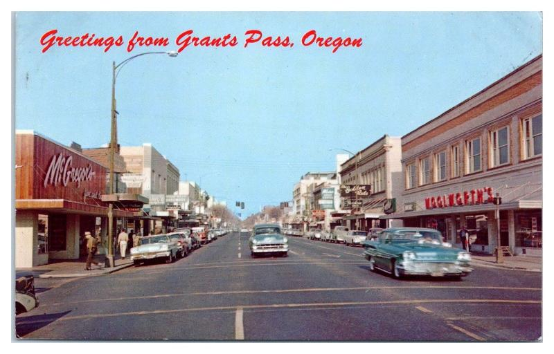 1950s/60s Greetings from Grants Pass, OR The Golden Rule, Woolworth's Postcard