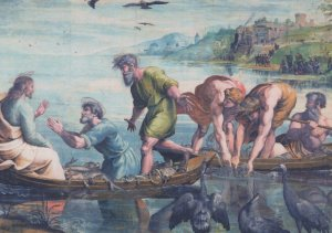 The Miraculous Draught Of Fishes Raphael V&A Painting Postcard
