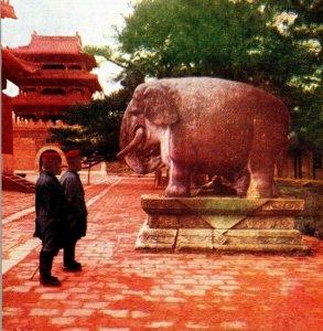 Imperial Mausoleum, Mukden Manchuria postcard elephant China men pagoda