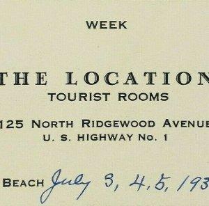 The Location Tourist Rooms 1938 Daytona Beach Florida Business Card Receipt Vtg