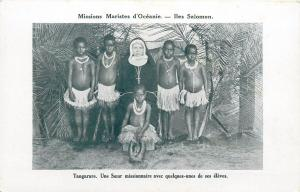 Oceania Solomon Islands Tangarare Missionary Sister Teacher Native Schoolgirls