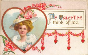 F38/ Valentine's Day Love Holiday Postcard c1910 Beautiful Woman Large Hat 3