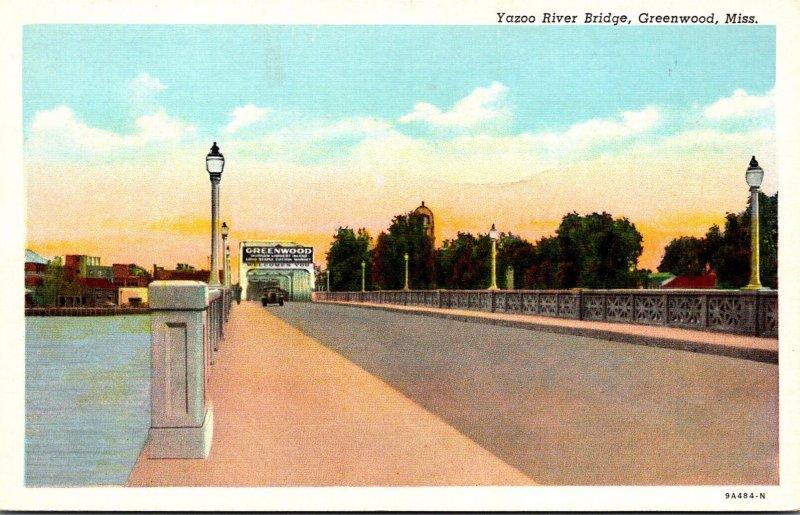 Mississippi Greenwood Yazoo River Bridge Curteich