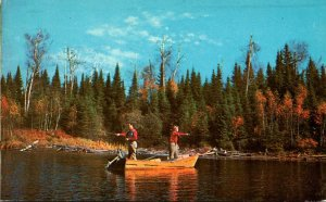Maine Greetings From The Pine Tree State Fishing Scene 1960