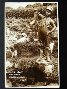 Lincolnshire Cleethorpes KINGSWAY Leaking Boot Statue c1940s RP Postcard