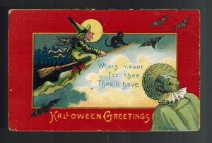 1900s Postcard Cover Halloween Greetings Flying Witch on Broomstick with Bats