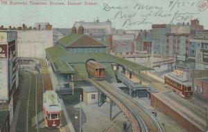 BOSTON, Massachusetts, PU-1906; Elevated Terminal Train Station, Dudley Street
