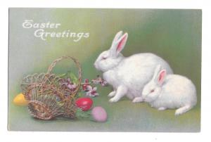 Easter Greetings Two White Rabbits Basket Colored Eggs Violets Vintage Postcard