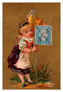 8643  Autrighe   Stamp, Flag, Girl   Victorian Philatelic Trade Card