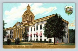 Tallahassee FL, State Capitol, Gold Embossed, Seal, Vintage Florida Postcard
