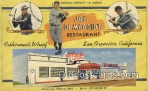 Joe Di Maggios Restaurant , San Francisco, CA USA Old Vintage Antique Postcar...