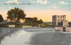 Manhattan Kansas Rocky Ford Dam Waterfront Antique Postcard K80393
