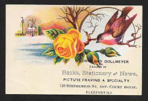 VICTORIAN TRADE CARD Brown Dollmeyer Books Stationary & News