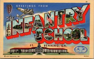 Ft Benning GA~Infantry School~Large Letter Linen Polstcard~WWI Lt Velma Owens