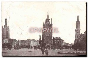 Old Postcard Kortrijk The Three Towers