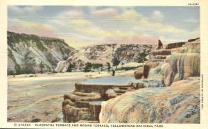 Cleopatra Terrace, Yellowstone National Park WY, Wyoming - pm 1939 - Linen