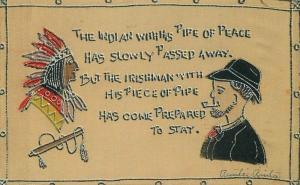 1907 Silk Native American Indian Irish Arts & Crafts Saying Postcard