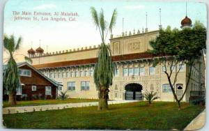 Los Angeles CA Postcard Main Entrance, Al Malaikah, Jefferson Street c1910s