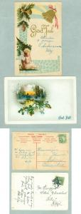 Sweden. 2 Old Christmas Card.Postal Used. See Description
