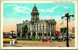 Marion, Indiana Postcard GRANT COUNTY COURT HOUSE Street View Hamm c1930s