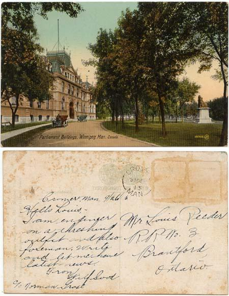 View Card - 1915 Winnipeg, Man. Parliament Buildings