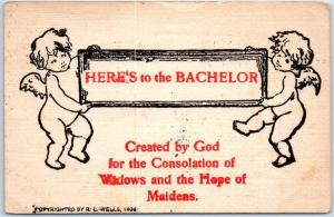 Vintage Greetings Postcard HERE'S TO THE BACHELOR L. WELLS 1908 Cancel