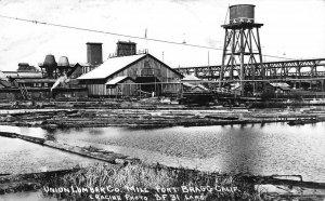RPPC Union Lumber Co. Mill FORT BRAGG, CA Logging Laws ca 1950s Vintage Postcard
