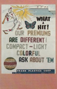 ADV; Instant Glitter Kits, 1957; Baseball player hitting ball, Glitter letters