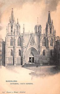 Spain Old Vintage Antique Post Card Catedral, vista general Barcelona Unused