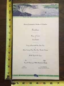 Detroit Commandery Knights of Columbus Menu Card 1938 New York Central System