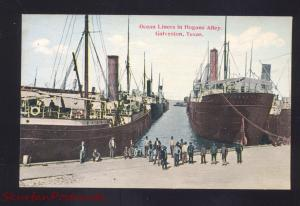 GALVESTON TEXAS OCEAN LINERS IN HOGANS ALLEY SHIPS ANTIQUE VINTAGE POSTCARD