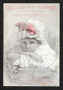 VICTORIAN TRADE CARD Horsfords Acid Phosphate Girl Lace Cap