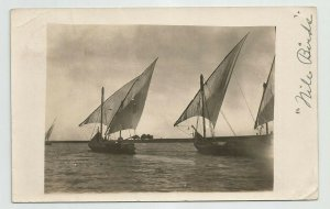 Antique POSTCARD ~ Real photo ~ Egypt ~ Sailboats ~  Nile Birds ~Mailed 1900's