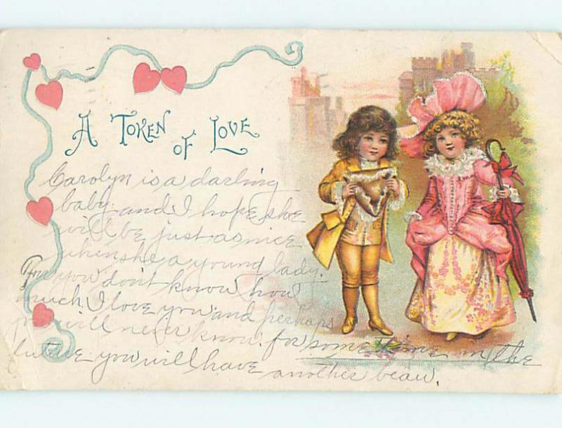 Pre-1907 valentine CUTE GIRL WITH UMBRELLA AND PINK HAT BESIDE BOY HJ2149