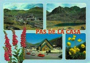 Valls d'Andorra Pas de la Casa Panorama Lake Cars Flowers Postcard