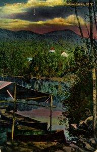 NY - Adirondacks, Blue Mountain Lake. Open Boat House