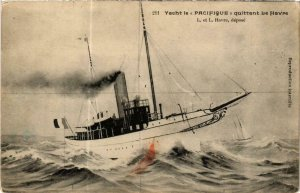 CPA AK Yacht le 'Pacifique' quittant Le Havre, SHIPS (762743)