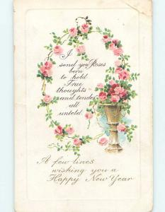 Bent corner Divided-Back new year PINK ROSE FLOWERS IN FLOWER POT ho3735