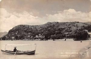Chapala Jalisco Mexico scenic view man in boat real photo pc Z18505