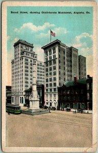 1920s Augusta, Georgia Postcard Broad Street Scene w/ Confederate Monument View