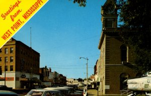 West Point, Mississippi - Greetings from Downtown on Commerce Street - 1950s