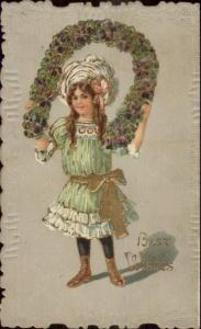 Little Girl w/ Floral Horseshoe BEST WISHES Scalloped Border c1910 Postcard