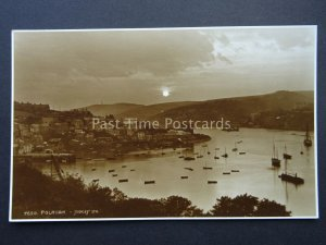Cornwall POLRUAN Fishing Village HARBOUR & SUNSET c1923 RP Postcard by Judges