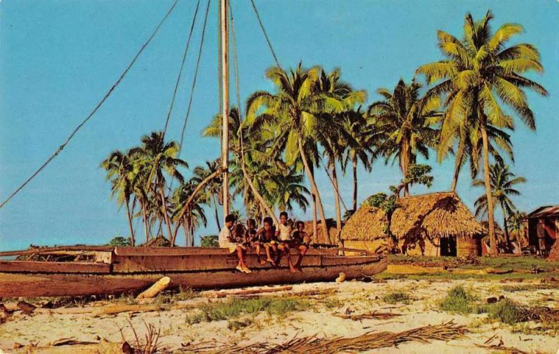 Koro Island Fiji beach scene native boat Takias vintage pc Z18498