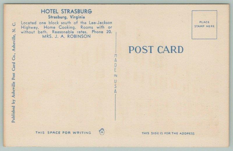Strasburg Virginia~Hotel Strasburg~Classic Cars Parked~Green Shutters~1940s