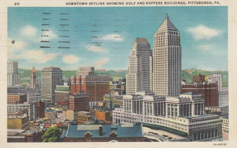 PITTSBURGH, Pennsylvania, 30-40s; Downtown Skyline showing Gulf & Koppers Bldgs.