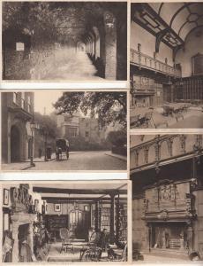 Lot 5 postcards London - Charterhouse fireplace library interior cloisters lodge