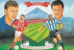 Middlesborough Football Club 1998 Bryan Robson Premiership Painting Postcard