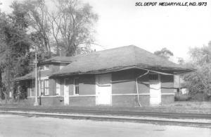 Medaryville Indiana SCL Railroad Depot Real Photo Vintage Postcard K101428