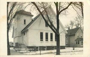 Enderlin North Dakota 1957 RPPC Photo Postcard Methodist Church Snow 464